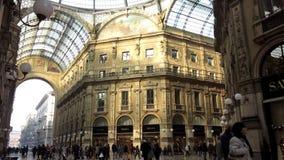 People in Galleria Vittorio Emanuele gallery stock video footage