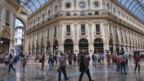People in the Galleria Vittorio Emanuele II in Milan, Italy. Milan, Italy - June 12, 2017: People in the Galleria Vittorio Emanuele II. Built by Giuseppe Mengoni stock video footage