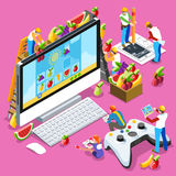 People Gaming Computer Video Game Isometric Vector Illustration. Video game UX development. Web gamer person gaming online with console controller android phone Stock Photo
