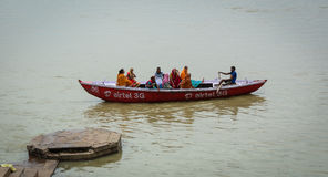 People on the Ganges river in Varanasi, India Stock Images