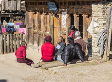 People at gangtey village Stock Photography
