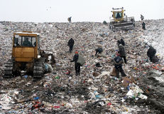 People in Garbage Dump royalty free stock image