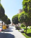 People garden medieval wall, Avila Stock Photography