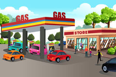 People at Gas Station and Convenience Store Royalty Free Stock Photos