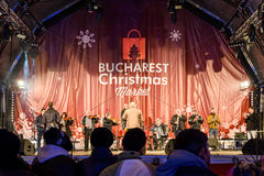 People Gather At The Christmas Market Free Concert Downtown Bucharest City Royalty Free Stock Photography