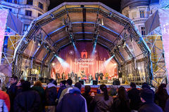 People Gather At The Christmas Market Free Concert Downtown Bucharest City Royalty Free Stock Photos
