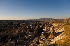 People gather on the observation deck to watch the sunset. Goreme, Turkey Royalty Free Stock Photo
