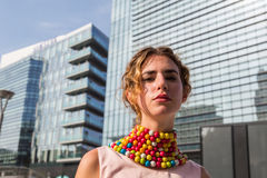 People gather outside Colangelo fashion show building in Milan, Royalty Free Stock Images