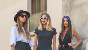 People gather outside Etro fashion show building in Milan, Italy royalty free stock image