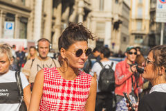 People gather outside Ferragamo fashion show building in Milan, Royalty Free Stock Images