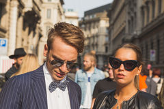 People gather outside Ferragamo fashion show building in Milan, Royalty Free Stock Photos