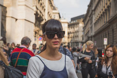 People gather outside Ferragamo fashion show building in Milan, Stock Photography