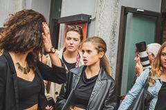 People gather outside Laura Biagiotti fashion show building in M Royalty Free Stock Photography