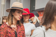People gather outside Laura Biagiotti fashion show building in M Stock Photos