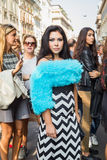 People gather outside Scervino fashion show building in Milan, I Stock Images