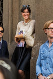People gather outside Scervino fashion show building in Milan, I Stock Photo