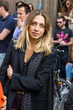People gather outside Scervino fashion show building in Milan, I Royalty Free Stock Photos