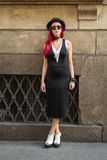 People gather outside Scervino fashion show building in Milan, I Royalty Free Stock Image