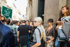 People gather outside Scervino fashion show building in Milan, I Royalty Free Stock Photo