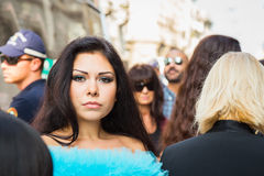 People gather outside Scervino fashion show building in Milan, I Stock Photos
