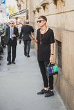 People gather outside Scervino fashion show building in Milan, I Royalty Free Stock Photography