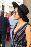 People gather outside Scervino fashion show building in Milan, I Stock Image