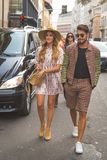 People gather outside Trussardi fashion show building in Milan, Royalty Free Stock Image
