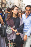 People gather outside Trussardi fashion show building in Milan, Royalty Free Stock Photos