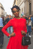 People gather outside Trussardi fashion show building in Milan, Royalty Free Stock Photography