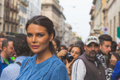 People gather outside Trussardi fashion show building in Milan, Stock Images