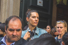 People gather outside Trussardi fashion show building in Milan, Stock Photography