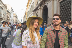 People gather outside Trussardi fashion show building in Milan, Stock Photo