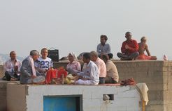 Ganges river religious chant Varanasi India. People gather for religious chant on Ganges river Varanasi India Stock Image