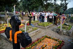 People gather to celebrate All Souls Day in Kolkata. All Souls' Day is a day when Christians remember their family, friends & relatives, who have passed stock photo