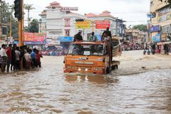 People gather to rescue the affected people from flooded area. On August 17,2018 in Pathanamthitta,Kerala, India. Kerala was badly affected by the floods during stock image