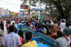 People gather to rescue the affected people from flooded area. On August 17,2018 in Pathanamthitta,Kerala, India. Kerala was badly affected by the floods during stock photography