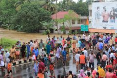 People gather to rescue the affected people from flooded area. On August 17,2018 in Pathanamthitta,Kerala, India. Kerala was badly affected by the floods during stock images