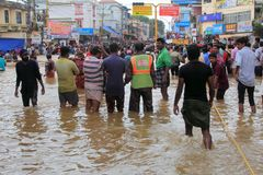 People gather to rescue the affected people from flooded area. On August 17,2018 in Pathanamthitta,Kerala, India. Kerala was badly affected by the floods during royalty free stock photography