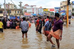 People gather to rescue the affected people from flooded area. On August 17,2018 in Pathanamthitta,Kerala, India. Kerala was badly affected by the floods during royalty free stock photo