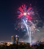 People gather to watch the fireworks in Discovery Meadow Park in San Jose Stock Photography