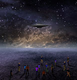 People Gather under Space Craft. People Gather to View Space Craft vector illustration