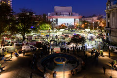 People Gather In University Square And National Theater On Second Day Of Protest Against Corruption And Romanian Government Royalty Free Stock Image