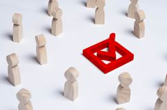 People gathered around the checkbox on a white background. People make a group choice. Democratic elections, collective decision a. Nd choice, referendum Stock Image