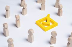 People gathered around the checkbox on a white background. People make a group choice. Democratic elections, collective decision. And choice, referendum Royalty Free Stock Photography