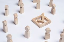 People gathered around the checkbox on a white background. People make a group choice. Democratic elections, collective decision a. Nd choice, referendum Stock Photo