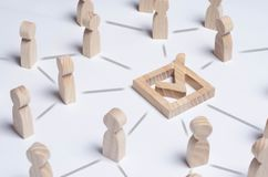 People gathered around the checkboxes connected by lines. People make a group choice. Democratic elections, collective decision an stock photos