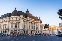 People gathered in front of Central University Library during the B-FIT in the Street Festival. Wide view. Bucharest, Romania - July 14, 2018: Wide viewof people royalty free stock photography