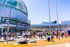 People gathered in front of the San Jose City Hall for the `Families belong together` rally royalty free stock photo