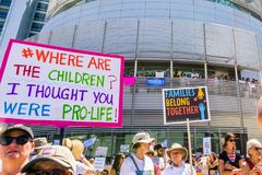 People gathered in front of the San Jose City Hall for the `Families belong together` rally stock images
