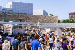 People gathered in front of the San Jose City Hall for the `Families belong together` rally stock photography